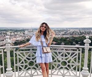 blue dress, city, and fashion image