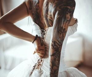 tattoo, dress, and wedding image