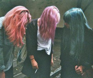 blue hair, pink hair, and purple hair image