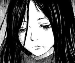 manga, sad, and black image