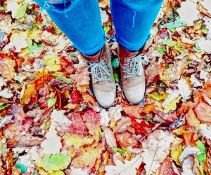 boots, jeans, and leaves image