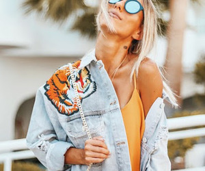 blonde, denim jacket, and patches image