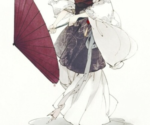 chinese woman, red umbrella, and feudal image