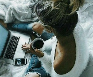 girl, coffee, and cozy image