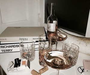 drink, wine, and book image