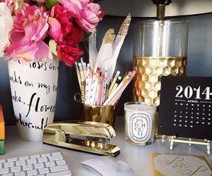 gold, desk, and decor image