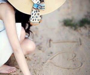 girl, hat, and sand image