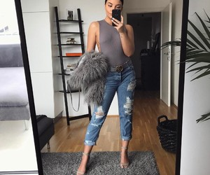 gray, jeans, and style image