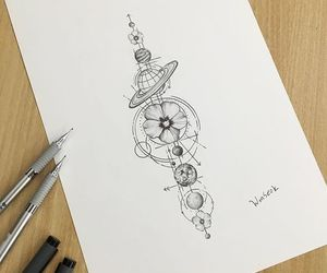 draw, flowers, and planets image