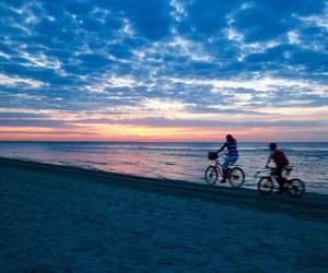 beach, beautiful, and bikes image