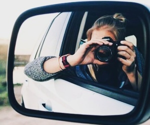 car, girl, and camera image