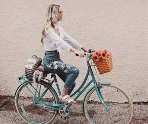 blonde, bycicle, and spring image