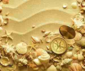 shell, compass, and sand image