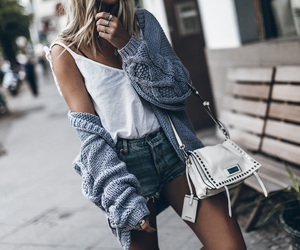 blogger, cardigan, and denim shorts image