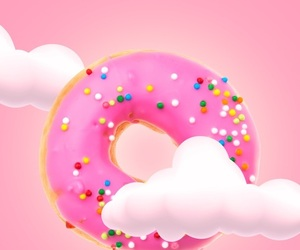 donuts, pink, and wallpaper image