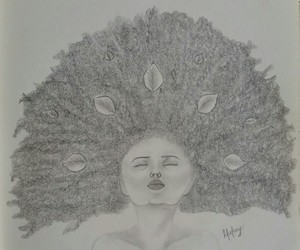 draw, hair, and drawing image