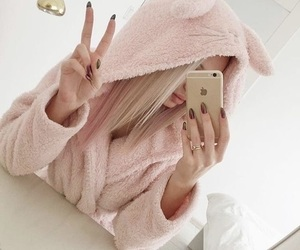 blonde, pink, and selfie image