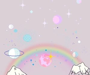 wallpaper, rainbow, and pink image