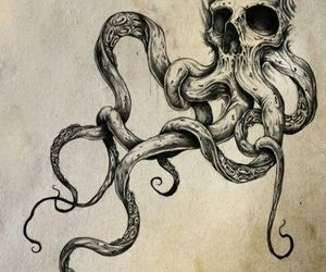 skull, octopus, and tattoo image