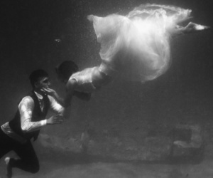 engagement, underwater, and trash the dress image