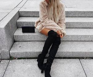 blonde, coat, and cool image