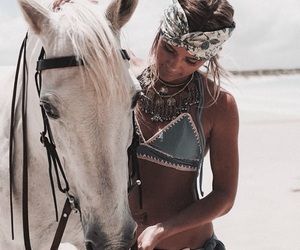 animal, girl, and horse image