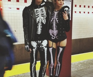 Halloween, couple, and skeleton image