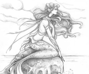 clouds, draw, and mermaid image
