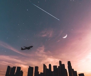 city, sky, and moon image