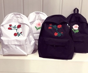 bags, black and white, and backpack image