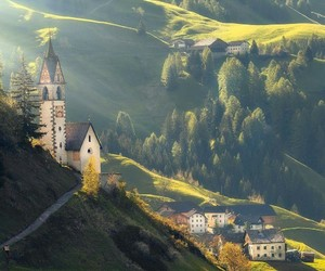 church, mountains, and town image