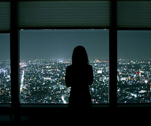 girl, city, and light image
