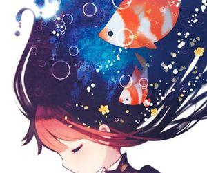 anime, fish, and anime girl image