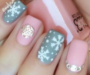 nails, pink, and christmas image