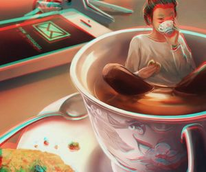 art, coffee, and cookie image