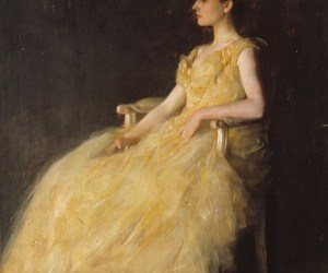 art, thomas wilmer dewing, and lady in yellow image