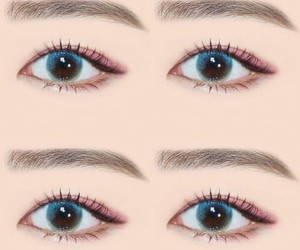 contact lense, eyebrows, and eyeliner image