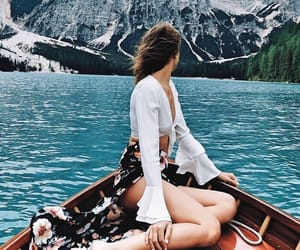 boat, girl, and mountains image