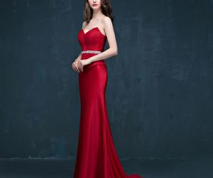 evening dress, red dress, and mermaid dress image