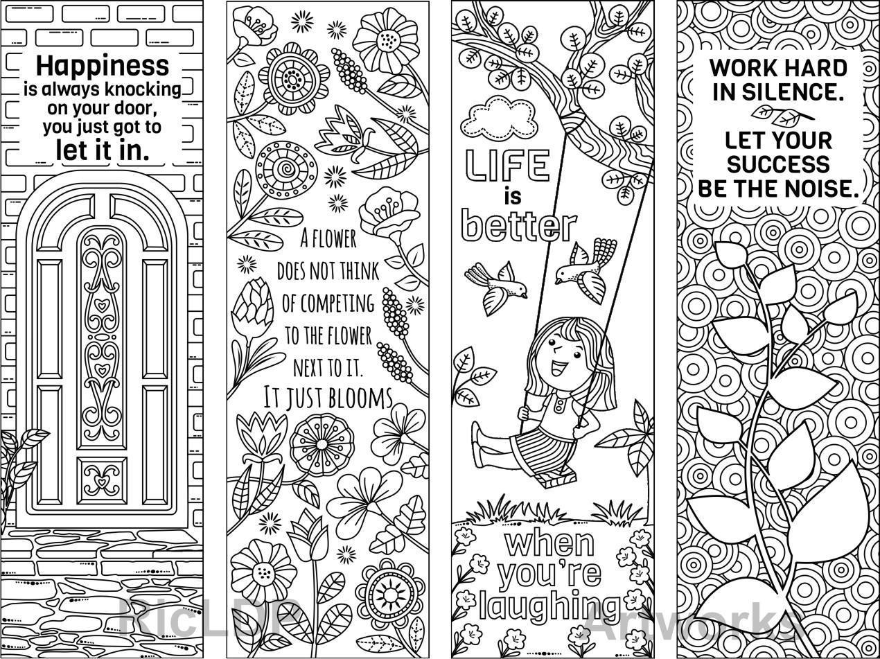 8 Coloring Bookmarks with Feel Good Quotes; Printable ...