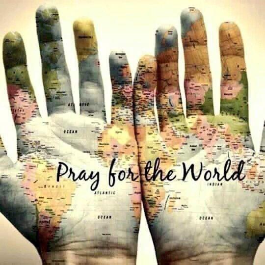 world, pray, and peace image