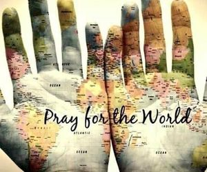 world, pray, and peace image