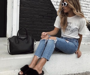 bag, blonde, and shoes image