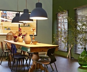 dining room, home decor, and pendant lights image