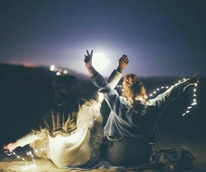 light, best friends, and night image