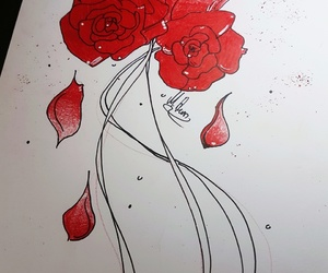 drawing, flower, and roses image