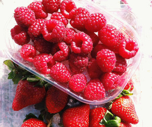 fruit, strawberry, and raspberry image