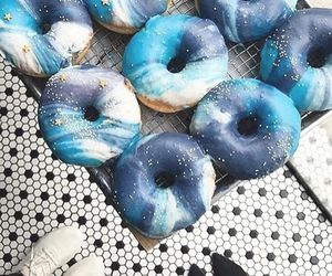 blue, food, and donuts image
