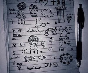 black, tumblr, and drawing image