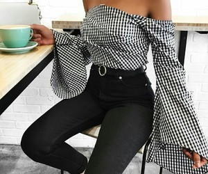black, blouse, and white image